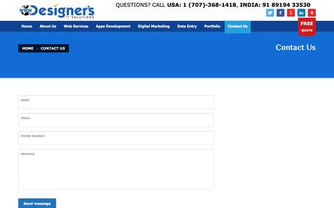 Screenshot of Contact Page designersit.com - Contact Us – Website Design & Development – Mobile Apps Development – Digital Marketing Services - captured Oct. 8, 2018