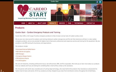 Screenshot of Products Page cardio-start.com - Cardio-Start - Cardiac Emergency Products & Training Milwaukee WI - captured Sept. 27, 2014
