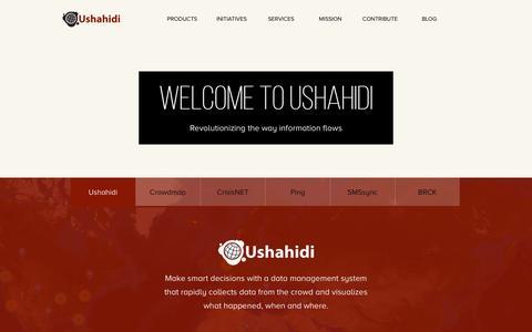Screenshot of Home Page ushahidi.com - Open Source, Global Impact, Freedom of Information: Ushahidi - Ushahidi - captured Jan. 15, 2015