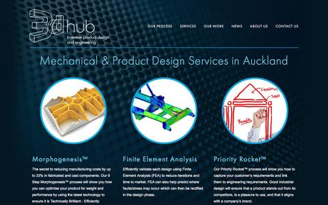 Screenshot of Home Page 3dhub.co.nz - Mechanical & product design Auckland | CAD modelling | Reverse engineering - captured Nov. 28, 2016