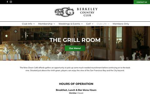 Screenshot of Hours Page berkeleycountryclub.com - Dining at The Grill | Berkeley Country Club | El Cerrito, CA - captured Oct. 19, 2018