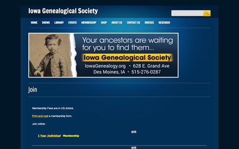 Screenshot of Signup Page iowagenealogy.org - Iowa Genealogical Society | Join - captured March 11, 2016