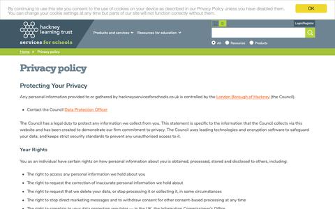 Screenshot of Privacy Page hackneyservicesforschools.co.uk - Privacy policy | Hackney Services for Schools - captured Sept. 26, 2018