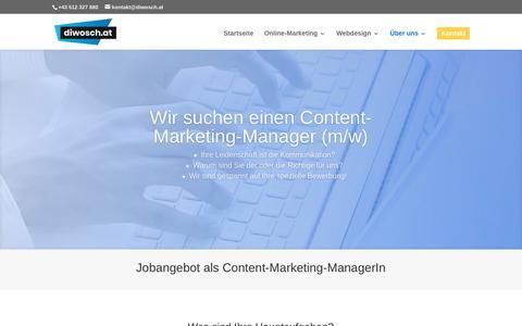 Screenshot of Jobs Page diwosch.at - Jobangebot: Content-Marketing-Manager (m/w) | diwosch.at - captured June 27, 2018