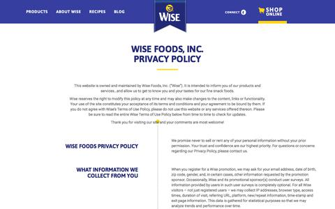 Screenshot of Privacy Page wisesnacks.com - Privacy Policy - Wise Snacks - captured Sept. 22, 2018
