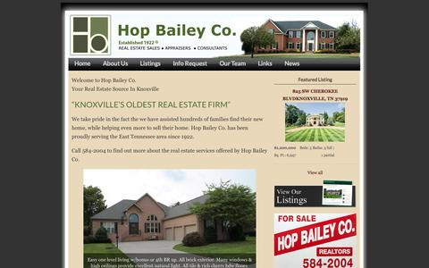 Screenshot of Home Page hopbailey.com - Knoxville Real Estate | Knoxville Realtor | Hop Bailey Company | Knoxville Tennessee Realty | East Tennessee Realtors | Knoxville Tennessee Real Estate | Knoxville Appraisers | Knoxville Tennessee Appraisals | Tennessee Real Estate Consultants | Knox - captured Oct. 3, 2014