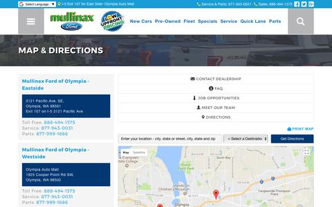 Screenshot of About Page Maps & Directions Page mullinaxfordoly.com - Directions to Mullinax Ford of Olympia, WA | Dealership Hours - captured Oct. 8, 2017