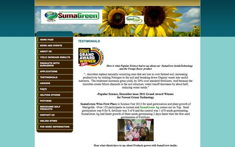 Screenshot of Testimonials Page sumagreen.com - Testimonials - captured Oct. 1, 2014