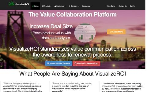 Screenshot of Home Page visualize-roi.com - Visualize ROI :: Home - captured Oct. 7, 2014