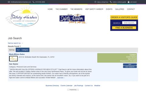 Screenshot of Jobs Page safetyharborchamber.com - Job Search - The Safety Harbor Chamber of Commerce - captured Dec. 30, 2016