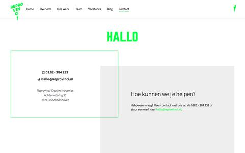 Screenshot of Contact Page reprovinci.nl - Hallo - captured June 14, 2017