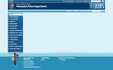 Screenshot of Menu Page pawtucketpolice.com - Pawtucket Police Department: - captured Oct. 2, 2014