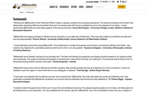Screenshot of Testimonials Page 2bscientific.com - Testimonials - captured Dec. 19, 2016