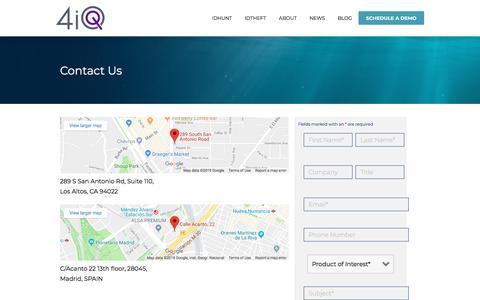 Screenshot of Contact Page 4iq.com - Contact Us | 4iQ - captured July 23, 2019