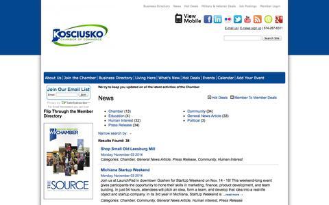 Screenshot of Press Page kchamber.com - News - News Releases - Warsaw Kosciusko Chamber of Commerce - captured Nov. 4, 2014