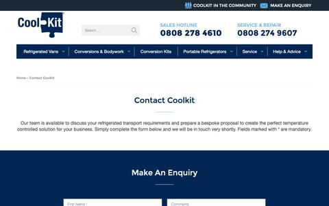 Screenshot of Contact Page coolkit.co.uk - Contact Us - CoolKit Fridge Vans - captured Oct. 21, 2018