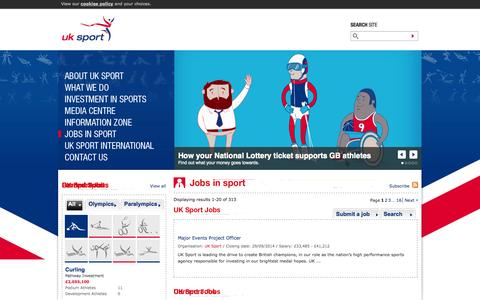 Screenshot of Jobs Page uksport.gov.uk - UK Sport - The UK's High Performance Sports Agency - captured Sept. 23, 2014