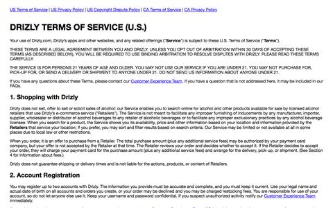 Screenshot of Terms Page drizly.com - Drizly Legal - captured Jan. 3, 2020