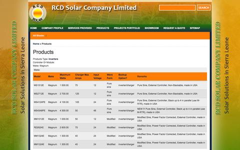 Screenshot of Products Page rcdsolar.com - Products | RCD Solar Company Limited - captured Oct. 9, 2014