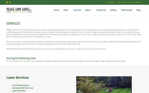 Screenshot of Services Page villagelawnservice.biz - Village Lawn Service in St. Paul, MN - Including Lawn Care, Mowing, Snow Removal & Landscaping - captured June 13, 2017