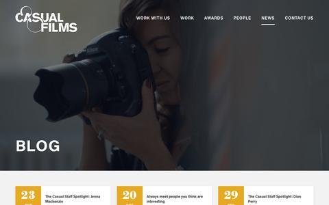 Screenshot of Blog Press Page casualfilms.com - News | Casual Films - Casual Films - captured Oct. 26, 2017