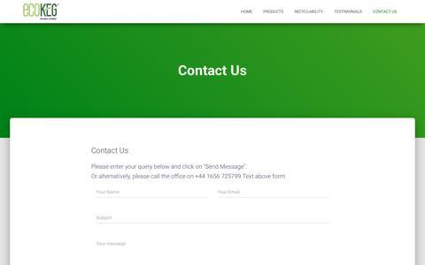 Screenshot of Contact Page ecokeg.com - Contact Us – EcoKeg - captured Sept. 27, 2018