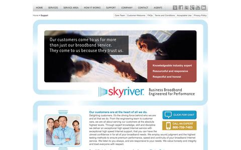 Screenshot of Support Page skyriver.net - Broadband Internet Technical Support  | High Speed Internet Support - captured Oct. 9, 2014