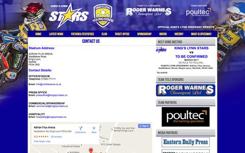 Screenshot of Contact Page kingslynnstars.co - CONTACT US - King's Lynn Speedway - The Home of the Stars and Young Stars - captured Nov. 27, 2016