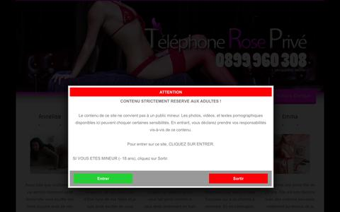 Screenshot of Home Page telephone-rose-prive.com - Téléphone rose privé dial direct avec des coquines - captured Sept. 2, 2015