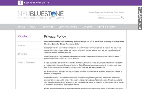 Screenshot of Privacy Page bluestonecenter.org - NYU Bluestone Center for Clinical Research : Contact - captured Oct. 18, 2018