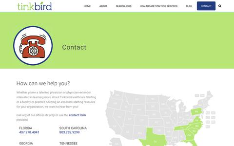 Screenshot of Contact Page Locations Page tinkbird.com - Contact | TinkBird Healthcare Staffing - captured Oct. 18, 2018