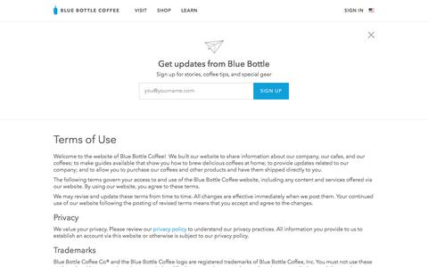 Screenshot of Terms Page bluebottlecoffee.com - Terms of Use | Blue Bottle Coffee - captured Jan. 26, 2017