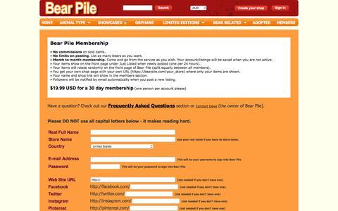 Screenshot of Signup Page bearpile.com - Bear Pile | Sign Up - captured June 29, 2018