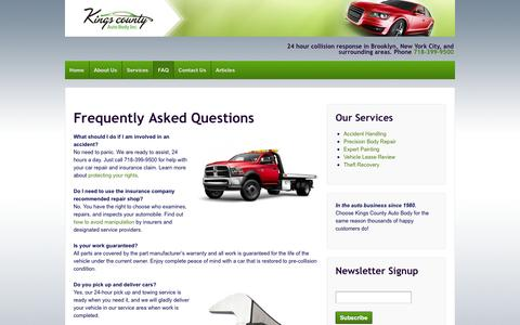 Screenshot of FAQ Page kingscountyauto.com - Frequently Asked Questions - Kings County Auto Body - captured Oct. 6, 2014