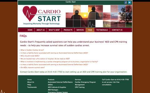Screenshot of FAQ Page cardio-start.com - Cardio-Start - Sudden Cardiac Arrest FAQs - Milwaukee WI - captured Sept. 27, 2014