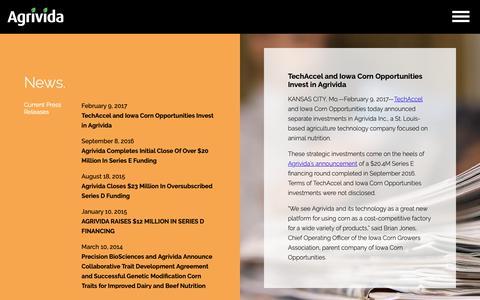 Screenshot of Press Page agrivida.com - News. | Agrivida - captured Oct. 3, 2018