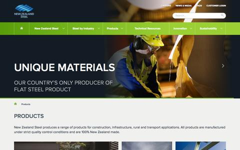 Screenshot of Products Page nzsteel.co.nz - Products | New Zealand Steel - captured Oct. 6, 2014