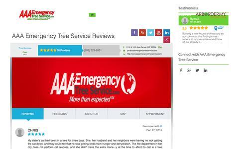 Screenshot of Testimonials Page aaaemergencytreeservice.com - Testimonials - aaaemergencytreeservice.com - captured Dec. 22, 2015