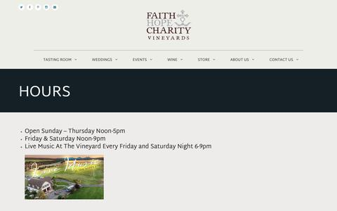 Screenshot of Hours Page faithhopeandcharityevents.com - Hours - Faith, Hope, and Charity - captured Oct. 10, 2018