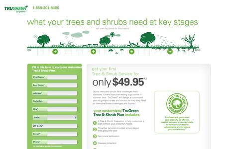 Screenshot of Landing Page trugreen.com - Get your first Tree & Shrub Service for only $49.95 - captured May 21, 2016