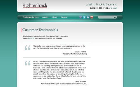 Screenshot of Testimonials Page rightertrack.com - Customer Testimonials | RighterTrack - captured Dec. 7, 2016