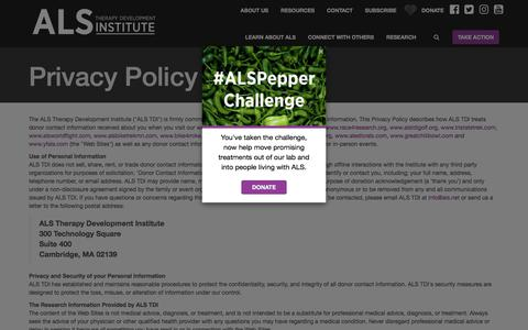Screenshot of Privacy Page als.net - Privacy Policy | ALS Therapy Development Institute - captured Jan. 26, 2018