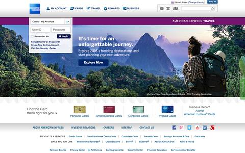 Screenshot of Home Page americanexpress.com - American Express Credit Cards, Rewards, Travel and Business Services - captured Jan. 13, 2016