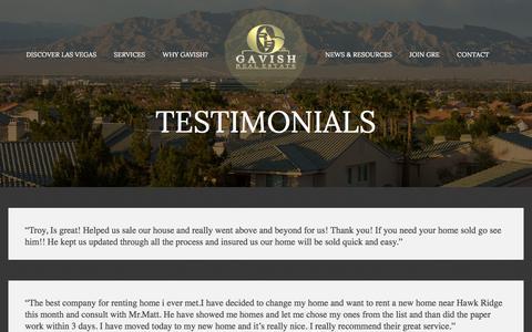 Screenshot of Testimonials Page gavishrealestate.com - Testimonials - Gavish Real Estate - captured Dec. 7, 2015