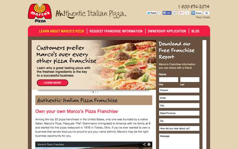 Screenshot of Home Page marcosfranchising.com - Marcos Pizza Franchising Authentic Italian Pizza Franchise - Marcos Pizza Franchising - captured Oct. 6, 2014
