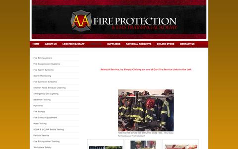 Screenshot of Services Page aafireohio.com - AA Fire Protection LLC - Services - captured Oct. 4, 2014