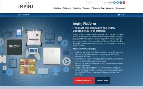 Screenshot of Products Page impinj.com - Impinj Platform | Impinj - captured July 3, 2016