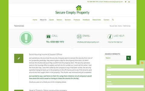Screenshot of Testimonials Page secureemptyproperty.com - Testimonials | Secure Empty Property - captured Feb. 26, 2016