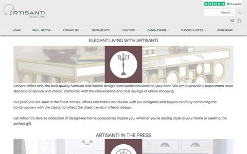 Screenshot of About Page artisanti.com - Artisanti Interior Design | Abstract Sculptures | Metal Wall Art | Candle Lanterns | Silver Ornaments - captured July 30, 2018