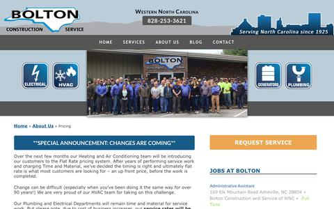 Screenshot of Pricing Page boltonservicewnc.com - Contractor Pricing Guide   Bolton Construction & Service - captured Oct. 6, 2018
